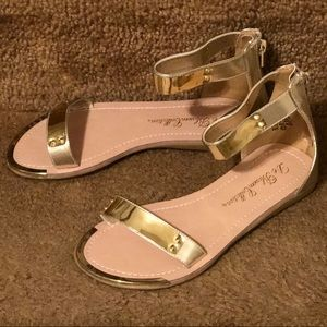 Shoes - Women Gold Gladiator Ankle Strap Open Toe Sandals